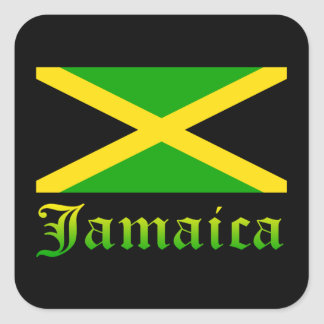 Jamaica Flag, Black, Green and Yellow Square Sticker