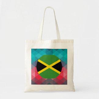 Jamaica flag circle on modern bokeh tote bag