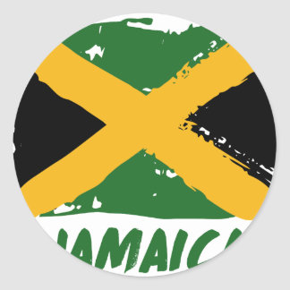 Jamaica flag design round sticker