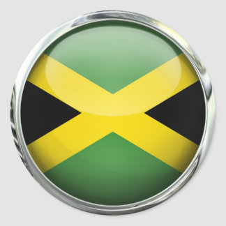 Jamaica Flag Glass Ball Classic Round Sticker