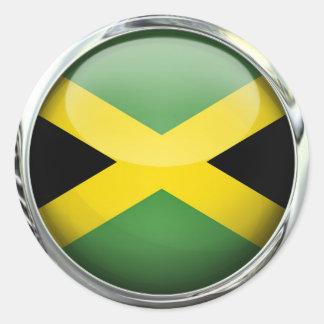 Jamaica Flag Glass Ball Round Sticker