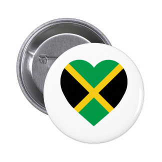Jamaica Flag Heart 6 Cm Round Badge
