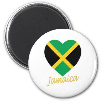 Jamaica Flag Heart 6 Cm Round Magnet