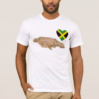 Jamaica Flag Heart and Map T-Shirt