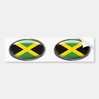 Jamaica Flag in Glass Oval Bumper Sticker