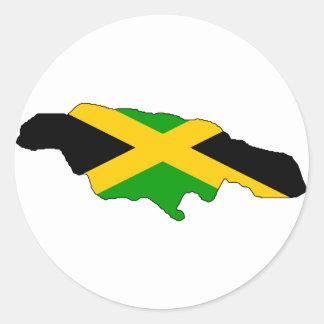 Jamaica flag map round sticker