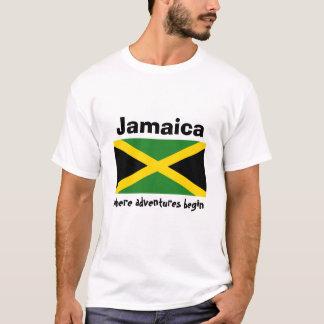 Jamaica Flag + Map + Text T-Shirt