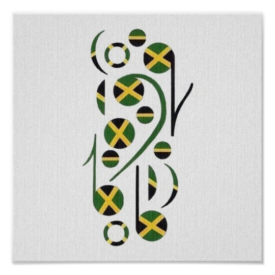 Jamaica Flag Musical Notes Poster