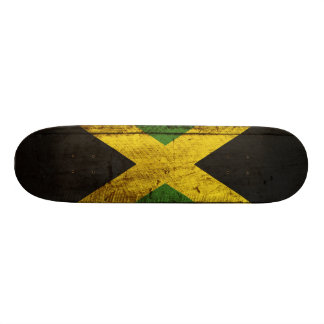 Jamaica Flag on Old Wood Grain Skate Boards