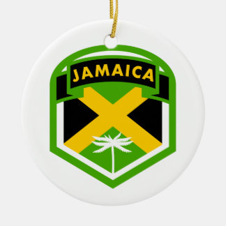 Jamaica Flag Shield Style Christmas Ornament