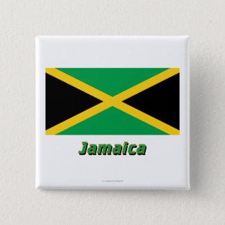 Jamaica Flag with Name 15 Cm Square Badge
