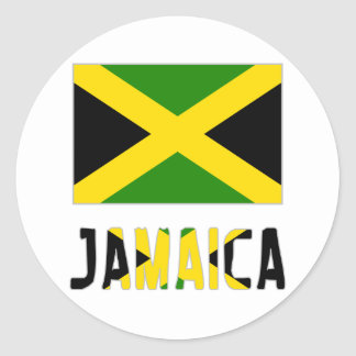 Jamaica Flag & Word Classic Round Sticker