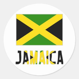 Jamaica Flag & Word Round Sticker