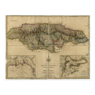 Jamaica from the latest Surveys Map (1775) Postcard