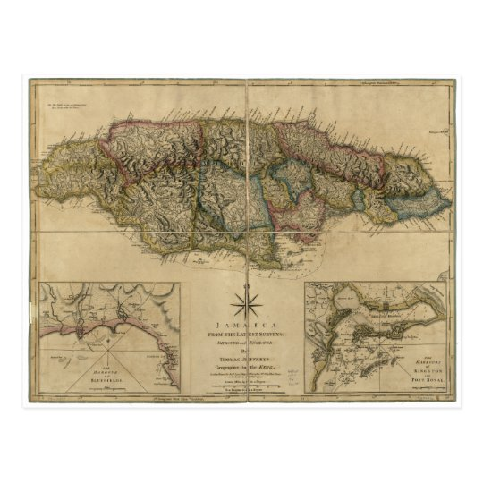 Jamaica from the latest Surveys Map (1775) Postcard
