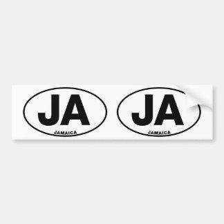 Jamaica JA Oval ID Identification Code Initials Bumper Sticker