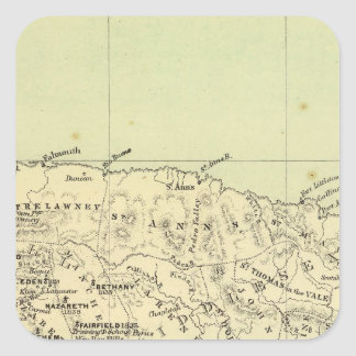 Jamaica Lithographed Map Square Sticker