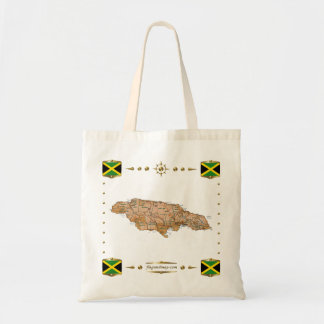 Jamaica Map + Flags Bag