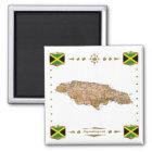 Jamaica Map + Flags Magnet