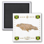 Jamaica Map + Flags Magnet