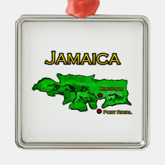 Jamaica Map (green-yellow-black) Silver-Colored Square Decoration