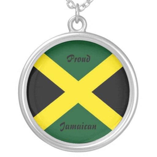 Jamaica necklace-proud jamaican round pendant necklace
