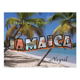 Jamaica Negril Postcard Retro Style
