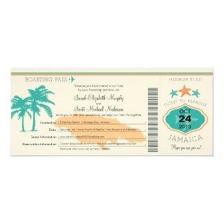 Jamaica Save the Date Boarding Pass 10 Cm X 24 Cm Invitation Card