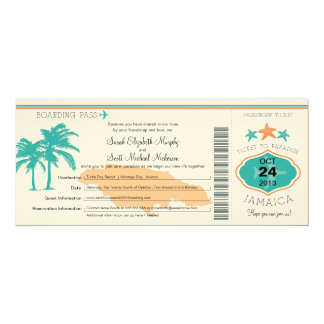 Jamaica Save the Date Boarding Pass Card