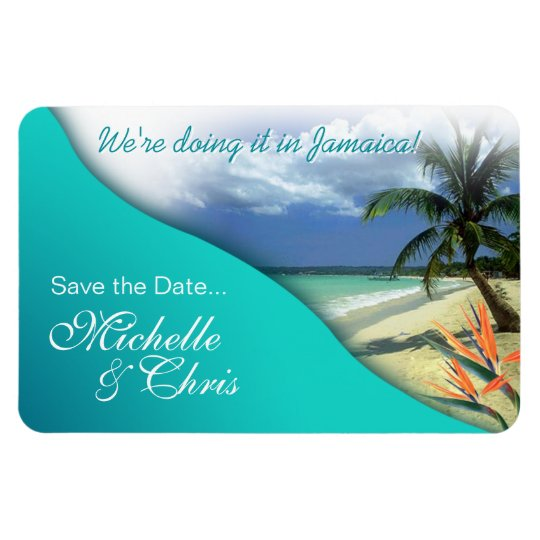 Jamaica Save The Date (emerald waters) Rectangular Photo Magnet