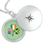 Jamaica Shamrock Green Background Round Locket Necklace
