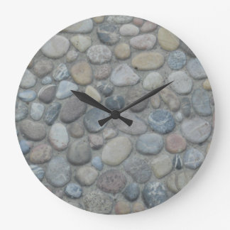 Jamaica Stones Pebbles Rocks Texture Pattern Photo Large Clock