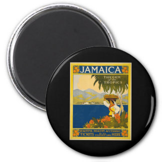 Jamaica the gem of the tropics 6 cm round magnet