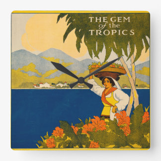 Jamaica, the gem of the tropics square wall clock