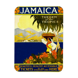 Jamaica the Gem of the Tropics Travel Poster 1910 Flexible Magnet
