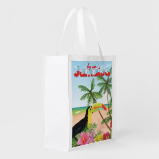 Jamaica toucan beach poster reusable grocery bag