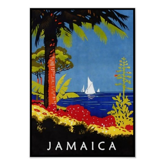 Jamaica Vintage Retro Art Deco Travel Poster