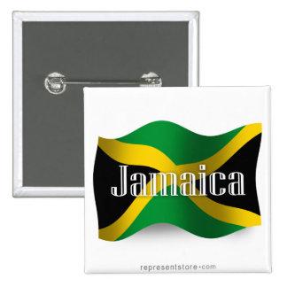 Jamaica Waving Flag 15 Cm Square Badge