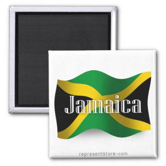 Jamaica Waving Flag Square Magnet