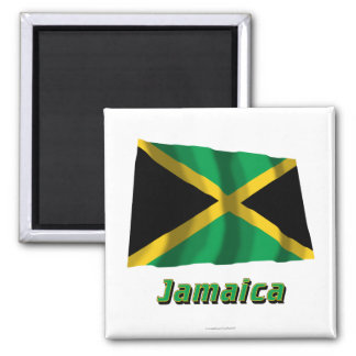 Jamaica Waving Flag with Name Magnet