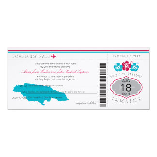 Jamaica Wedding Boarding Pass 10 Cm X 24 Cm Invitation Card