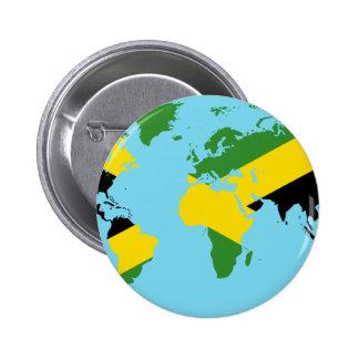 Jamaica World - Jamaican Flag Map of World Button