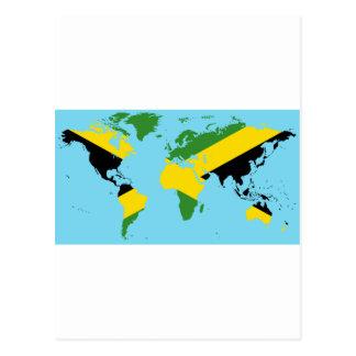 Jamaica World - Jamaican Flag Map of World Postcard
