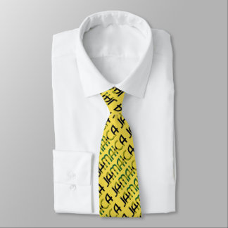 Jamaican Flag Colors Typography Pattern Tie