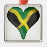 Jamaican Flag In A Heart Ornament