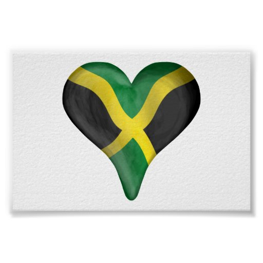 Jamaican Flag In A Heart Poster