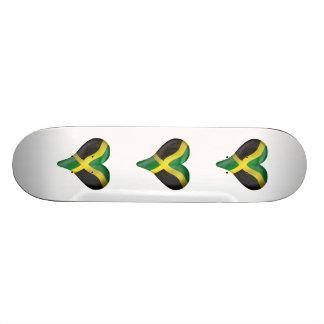 Jamaican Flag In A Heart Custom Skateboard