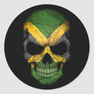 Jamaican Flag Skull on Black Classic Round Sticker