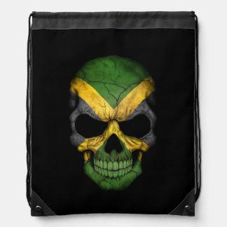Jamaican Flag Skull on Black Drawstring Bag