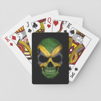 Jamaican Flag Skull on Black Playing Cards